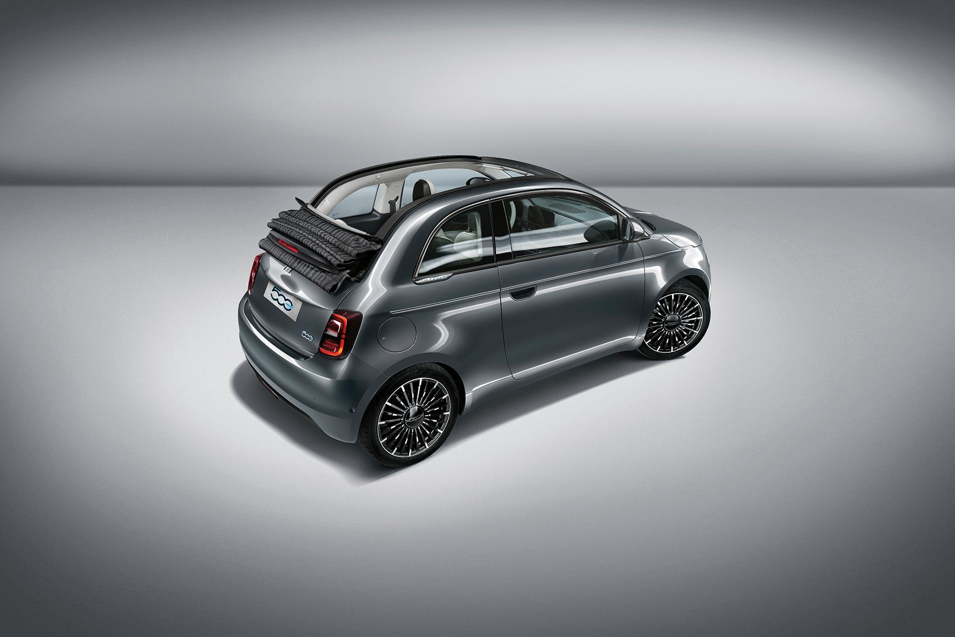 Fiat 500c electric La Prima rear side view