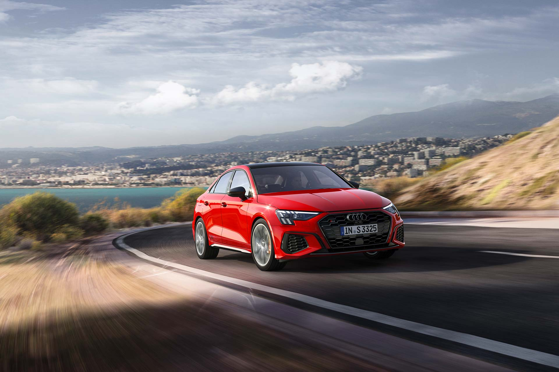 New 2020 Audi S3 sedan driving front
