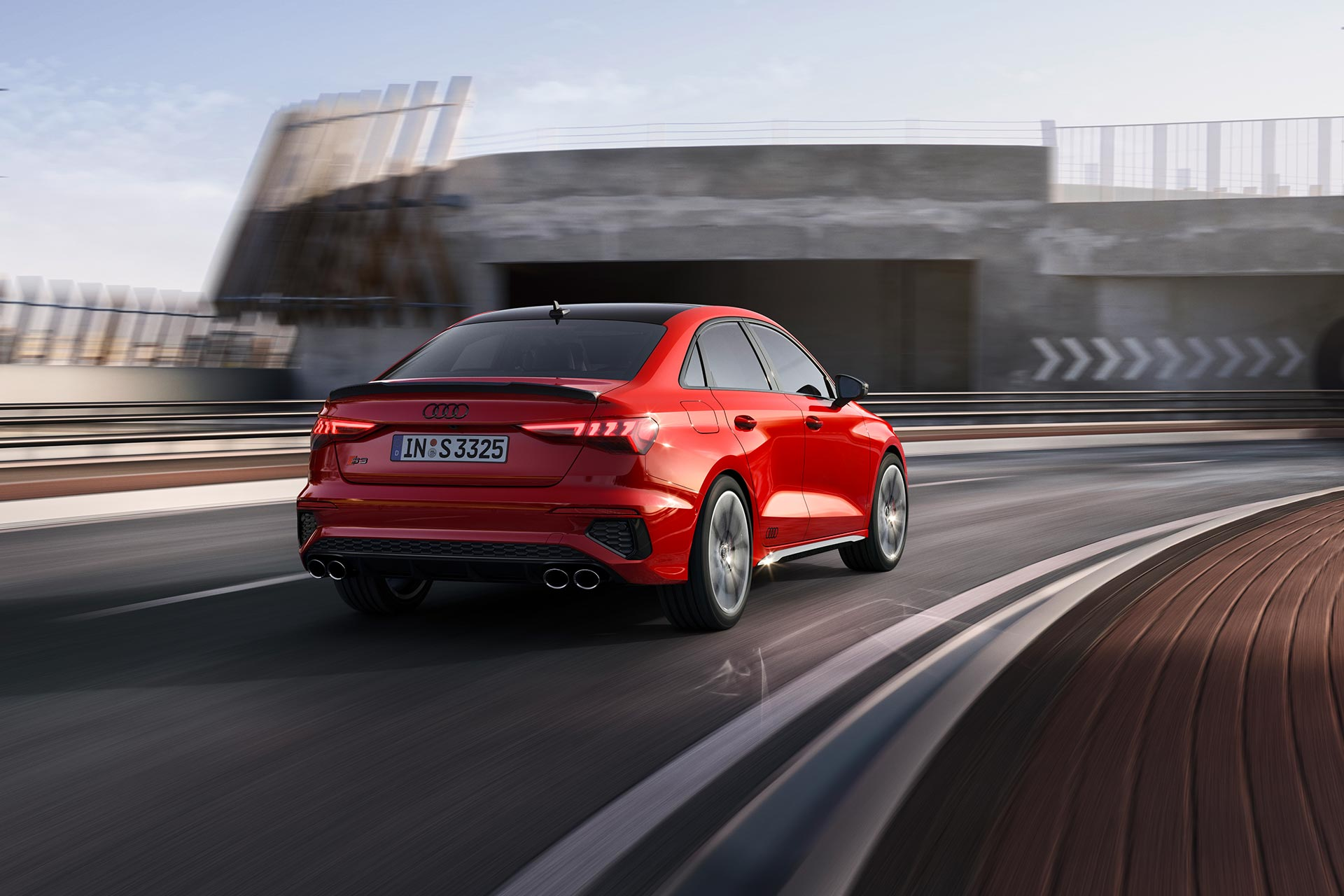 New 2020 Audi S3 sedan driving rear