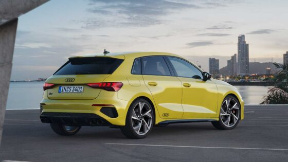 2020 Audi S3 sportback rear side view